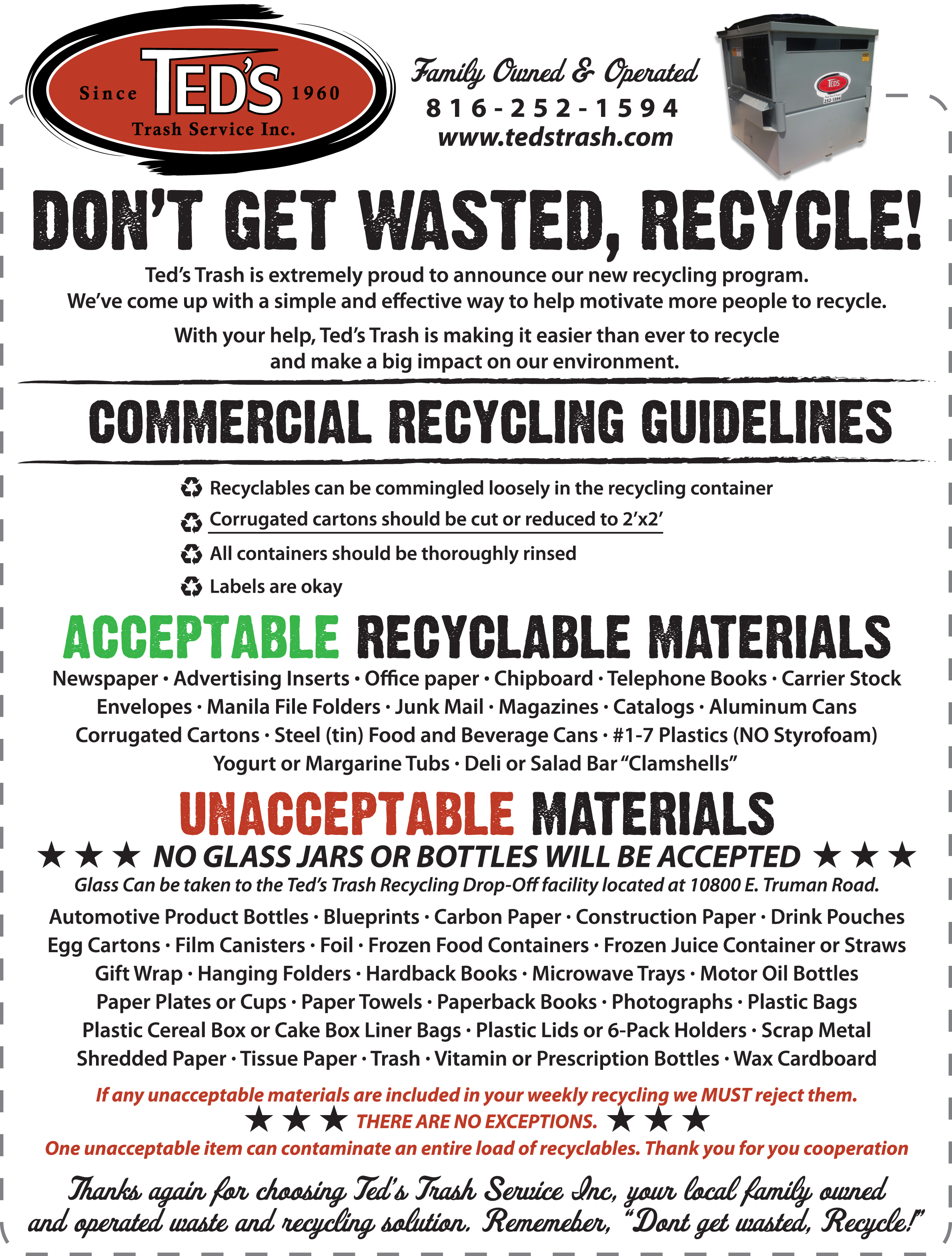 Recycle Facility Information  sc 1 st  Ted\u0027s Trash Service Inc. & Recycle \u2013 Ted\u0027s Trash Service Inc.
