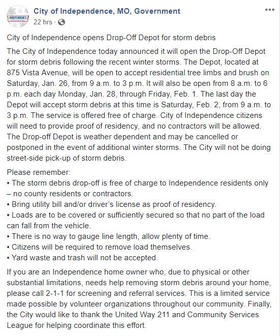 storm debris drop off
